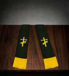 Clergy Stole Black Satin with Gold Cross/Crown