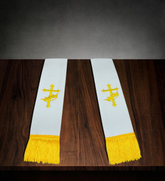Clergy Stole White Satin with Gold Cross/Crown