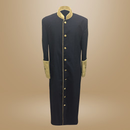 Clergy Cassock in Solid Black and Gold Satin Cuffs