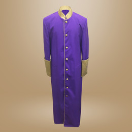 Clergy Cassock in Solid Purple and Gold Satin Cuffs