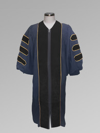 Dr. of Divinity Clergy Pulpit Robe - Black w/ Black & Gold Doctor Bars