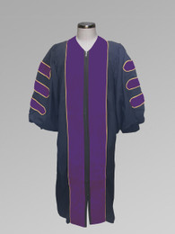 Dr. of Divinity Clergy Pulpit Robe - Black w/ Purple & Gold Doctor Bars