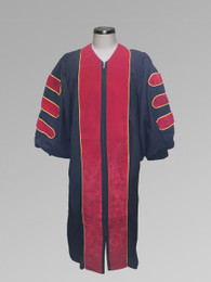 Dr. of Divinity Clergy Pulpit Robe - Black w/ Red & Gold Doctor Bars