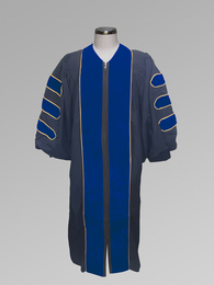 Dr. of Divinity Clergy Pulpit Robe - Black w/ Royal & Gold Doctor Bars