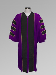 Clergy Robe Dr. of Divinity - Purple w/ Black & Gold Doctor Bars