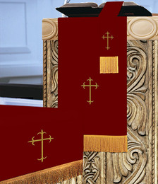 3 Pc. Church Parament Set - Reversible Burgundy/White Crosses