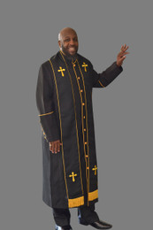 Clergy Robe in Black and Gold Border Plus Stole Set
