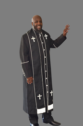 Clergy Robe in Black and White Border Plus Stole Set