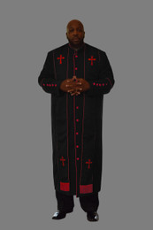 Clergy Robe in Black and Red Border Plus Stole Set