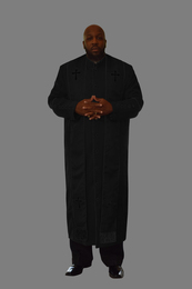 Clergy Robe in Black and Black Border Plus Stole Set