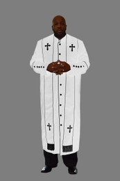 Clergy Robe in White and Black Border Plus Stole Set