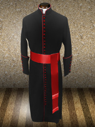 Roman Clergy Cassock Robe in Black & Red