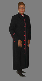 Women's Clergy Robe Black with Red Border