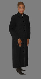Women's Clergy Robe Black with Black Border
