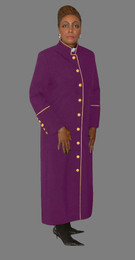 Women's Clergy Robe Purple with Gold Border
