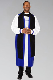 Clergy Chimere in Royal Blue with Fluting. To be worn with clergy rochet with pleated cuffs.