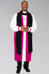 Bishop Clergy Chimere in Fuchsia with Fluting. To be worn with clergy rochet with pleated cuffs.