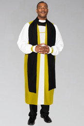 Clergy Chimere in Church Gold with Fluting. To be worn with clergy rochet with pleated cuffs.
