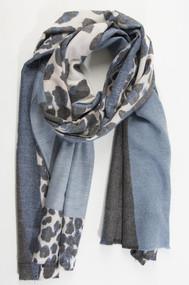 Monochromatic Leopard Print Scarf - Navy Blue (2631NB)