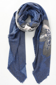 Floral & Leopard Print Square Scarf - Navy (2597NB)