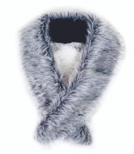 Long Silver Grey Faux Fur Scarf