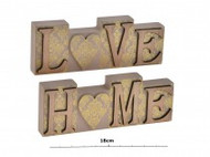 ''Love'' & ''Home'' Wooden Decorative Block