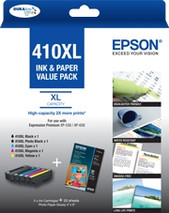 Epson-Epson 410xl Mega Pack 5 Ink Cmyk Pbk  20 Sht 4x6 Paper For Xp-530 630 540 640 SKU C13T339796
