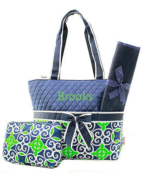 Personalized Diaper Bags In Green And Navy 3 Piece