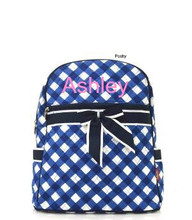 Personalized Kids Backpacks Navy Gingham
