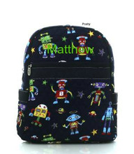 Personalized Kids quilted Backpack in Robot Print