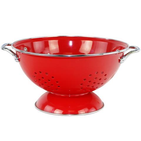 Red enamel colander