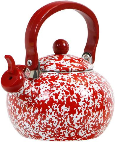 Red Marbled whistling tea kettle