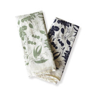 Flour Sack Napkins - Eucalyptus Twigs, Set of 4