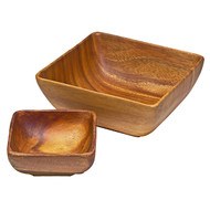 Small Square Wooden Bowl -6""