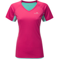 Ronhill Womens Short Sleeve Tee/Top (Cerise/Aquamarine)