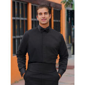 Non-Pleated Black Laydown Collar Tuxedo Shirt - Men's X-Large