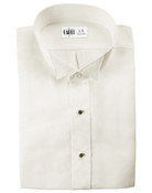 Lucca Ivory Wingtip Collar Tuxedo Shirt - Men's Large