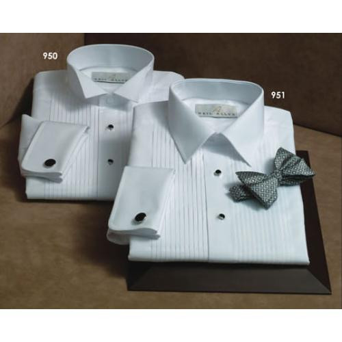 f1d178094f Men's White 100% Cotton Laydown Collar Tuxedo Shirt with French Cuffs