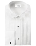 Men's White Wing Tip Collar Pleated (Verona) Tuxedo Shirt by Cristoforo Cardi