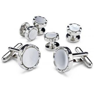 Black Onyx and Mother of Pearl Checkerboard Cufflinks and Studs - Style #FS6612