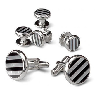 Striped Pattern of Black Onyx and Mother of Pearl Cufflinks and Studs