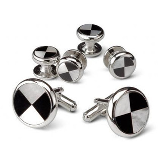 Geometric Mother of Pearl and Black Onyx Cufflinks and Studs