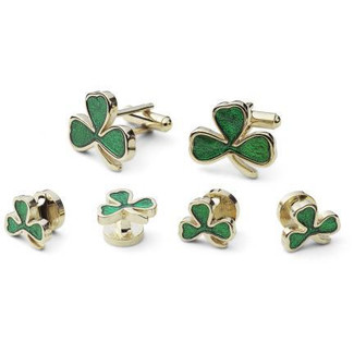 Shamrock Cufflinks & Studs - Green 3 Leaf Clover Cufflinks and Stud Set