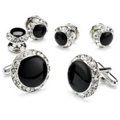 Black Onyx with Rhinestone Studded Cufflinks and Studs