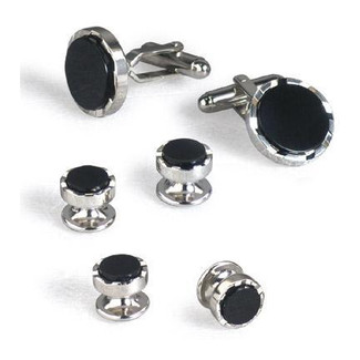 Deco Style Black Onyx Cufflinks and Studs