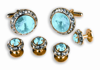 Blue Stone Cufflinks and Studs Set -Austrian Crystal