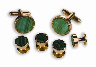 Malachate Green Stone Cufflinks and Studs Set