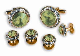 Light Green Stone Cufflinks and Studs Set