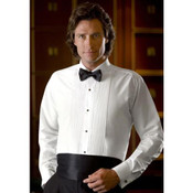 White Laydown Collar Tuxedo Shirt - Men's Large