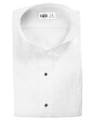 White Aldo Pleated Laydown Collar Tuxedo Shirt - Men's Medium